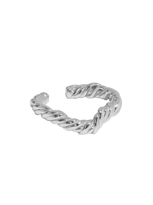 White gold [No. 14 adjustable] 925 Sterling Silver Round Vintage Band Ring